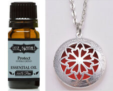 Essential Oil Diffuser Necklace, Antique Silver and 10 ml Protect Synergy Blend