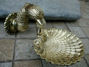 Architectural Salvage Vintage Brass Soap Disk Holder Beautiful Shell Bird Shape