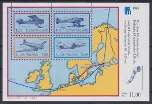 Finlandia Bloque 4 , Suomi Aviones Airplane 1987 ,Perfecto Estado, MNH