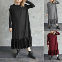 Women Holiday Long Sleeves Smock Tunic Dress Ruffle Hem Loose Baggy Plus Size UK