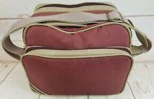 Vintage Retro Camera Camcorder Bag w/Shoulder Strap Red Nylon Tan Trim 3 Zippers