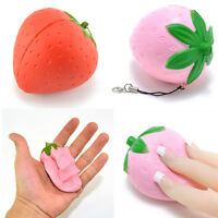 1PCS 8CM Strawberry Squishy Candy Scented Slow Rising Charm Key Bag Phone Straps