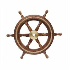 Ship's Wheel, Steering Wheel with Inserted Rope and Brass Hub Ø 45 CM