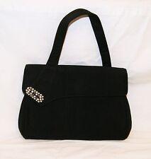 Vintage 50's Palizzio Black Velour Handbag Purse Rhinestone Accent