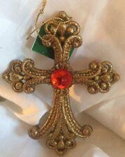 """Gold Glitter Cross Red Gem Christmas Ornament Kurt Adler New 5"""""""