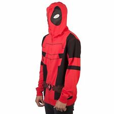 NWT MARVEL DEADPOOL SMALL FULL FACE MASK ZIP HOODIE JACKET COSTUME COSPLAY RED