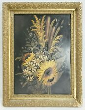 Antique Victorian Floral Oil Painting on Tin in Old Gold Frame