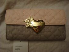 BETSEY JOHNSON BLUSH PINK/GRAY QUILTED HEART FLAP OVER TRI FOLD SNAP WALLET NWT