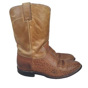 Justin Cowboy Boots Mens 8 D Brown Bullhide Leather Western Roper 3425 Botas