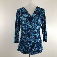 Carmen Marc Valvo Large Surplice Knit Top Blue Scroll Stretch Ruched Workwear