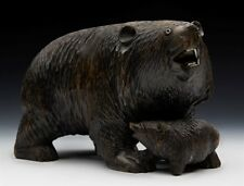 Antique Sculpté blackforest en bois Ours & Cub Figure C.1900