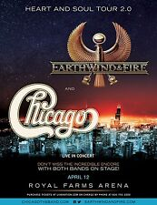 "EARTH WIND & FIRE /CHICAGO ""HEART & SOUL TOUR 2.0"" 2016 BALTIMORE CONCERT POSTER"