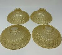 Vintage Art Nouveau Victorian Ornate Amber Glass Light Shades Set of 4 (inv:a32)