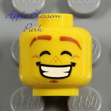 NEW Lego Happy Smile MINIFIG HEAD - Angry Boy/Girl Child/Kid Brown Eyebrow Hair