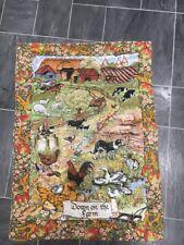 VINTAGE TEA TOWEL ANIMALS/DOWN ON THE FARM DESIGN