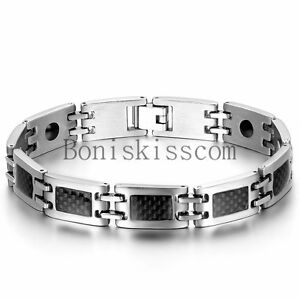 Black Carbon Fiber Silver Stainless Steel Link Power Therapy Magnetic Bracelet
