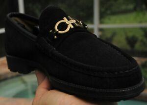 Men's SALVATORE FERRAGAMO Black suede  horse bit Loafer shoes  brand Size 9 D