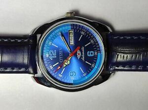 Vintage Citizen Automatic Day Date Blue Color Dial Men's Wrist Watch Working.