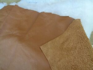 2 HUGE PIECES OF GENUINE LEATHER IN A DARK SAND SHADE (SIZES SEE DESCRIPTION )