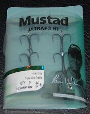 6 Mustad TG58BLN-06 KVD Elite Triple Grip Size 6 Treble Hooks Kevin VanDam