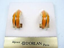with Orange Enamel 1383 D'Orlan Gold Plated Clip-on Earrings