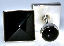 Solid 925 Sterling SILVER BLACK Onyx Cufflinks, Double sided Gents Mens Cuffs