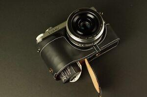 Handmade Genuine real Leather Half Camera Case bag for Panasonic GX7 Black OPEN