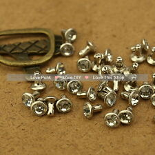100pcs 6mm Crystal Color Acrylic Rivet Spot Nickel Punk Bag Belt Leathercraft