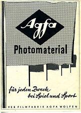 Agfa-Photomaterial--VEB Filmfabrik AGFA Wolfen--B 2--Werbung-1957-