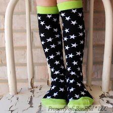 BonEful Boutique RTS NEW Cotton Knit GIRL KNEE HIGH Xmas SOCKS GREEN STAR Stripe