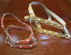Vintage Size,38 Medium Brown & Size,26 Small Red Leather Studded DOG Harness Lot