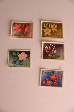 5 POLISH, POLSKA STAMP COLLECTION, STAMPED, OFF PAPER, FLOWERS