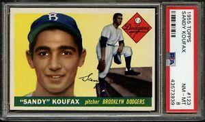 1955 TOPPS  SANDY KOUFAX  RC  #123  PSA  8  *VERY NICE*