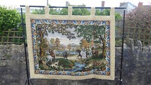 Large Vintage Tapestry Wall Hanging Hunting Scene Aubusson Style