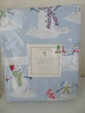 POTTERY BARN KIDS ORGANIC FLANNEL SNOWMAN DUVET COVER TWIN SIZE NEW