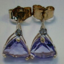 Beautiful 9ct Gold Earrings With Faceted Amethyst 0.5 Gr. 0.6 Cm. Wide In Box