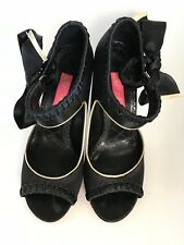BETSEY JOHNSON Black Bow Satin High Heel Peep Toe * Size 5M