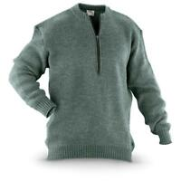 Original Swiss army pullover M74 Jumper grey virgin wool sweater with zipper