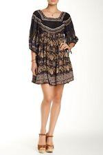 Free People Midsummer Dream Night Gray Brown Floral Boho Tunic Peasant Dress XS
