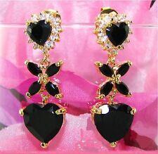 Plating Stones Sapphire Black Topaz Earrings For Party De Oro 18Kt.