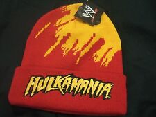 Rare NWT WWE Hollywood Hulk Hogan HULKAMANIA Wrestling WWF Logo Knit Beanie Hat