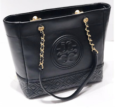 Tory Burch Fleming Quilted Tote Shoulder Bag Authentic Black OZ STOCK Authentic