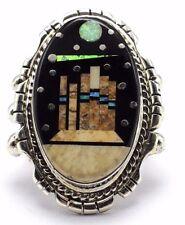 Navajo Handmade Sterling Silver Multi-Color Night Sky Ring - Matthew Jack