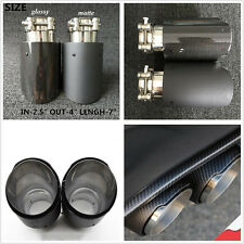 Car Glossy/Matte Random Modified Real Carbon Fiber Exhaust Muffler Pipe 63-101mm