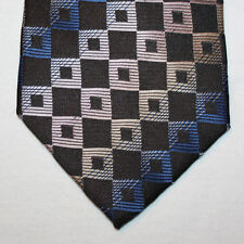 NEW Clericci Silk Neck Tie Black with Blue and Light Pink Pattern 1463