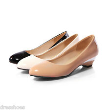 Women's Kitten Heel Shoes Patent Synthetic Leather Round Toe Pumps US Size 2~14