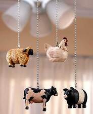 Set Of 4 Farmhouse Ceiling Fan Pulls Country Barnyard Animals Pig Cow Home Decor