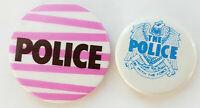 2 VINTAGE ORIGINAL THE POLICE STING MEMORABILIA PIN BADGES 80's