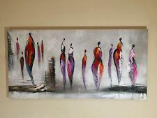 Tableau Contemporain signé - Personnages figuratifs - 120x60 cm - Déco moderne