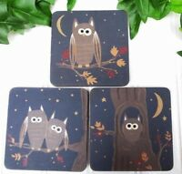 Set Of 3 Owl Magnets Country Kitchen Refrigerator Midnight Blue NEW